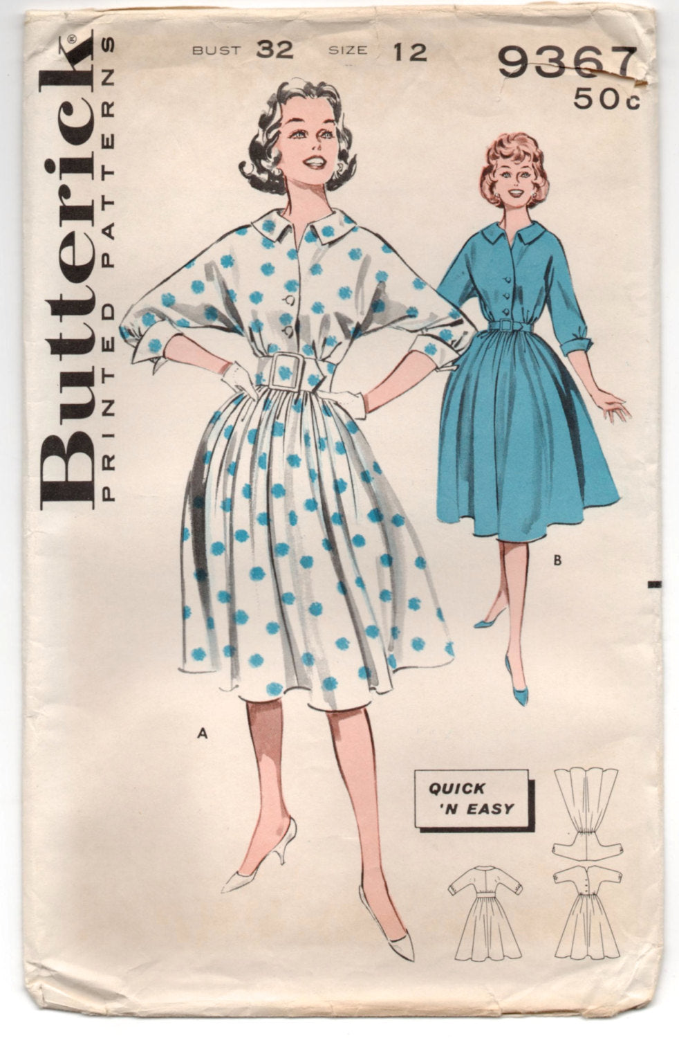1960's Butterick One-Piece Button Up Rockabilly Dress Pattern - Bust 32