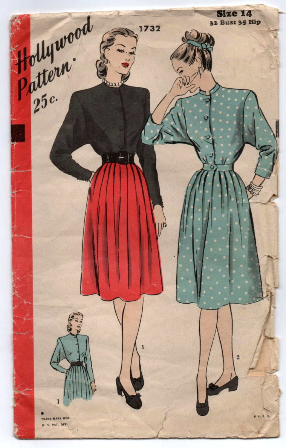 1940's Hollywood One-Piece Dress with Kimono Sleeves and Belt pattern - Bust 32