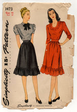 "1940's Simplicity One-PIece Dress with Bow Detail and Ruffles - Bust 32"" - No. 1473"