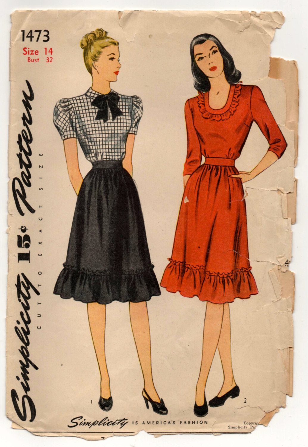 1940's Simplicity One-PIece Dress with Bow Detail and Ruffles - Bust 32