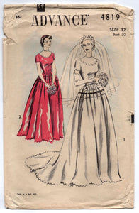 "1950's Advance Wedding Dress with Scooped Scallop Neckline and Glove pattern - Bust 30"" - No. 4819"