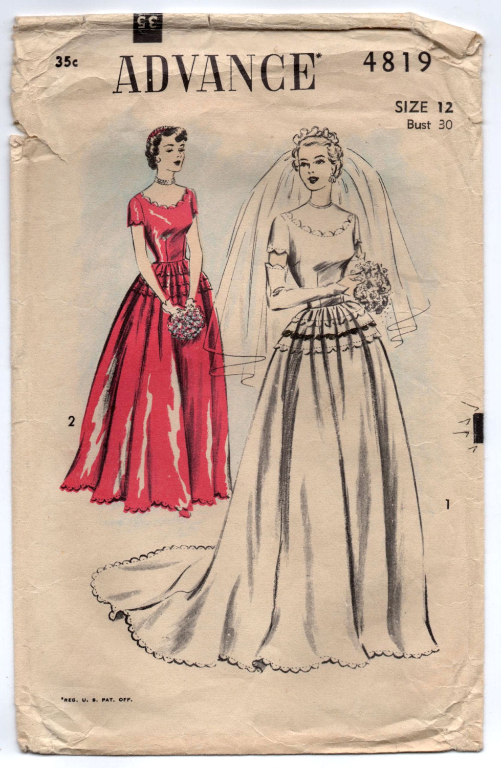1950's Advance Wedding Dress with Scooped Scallop Neckline and Glove pattern - Bust 30