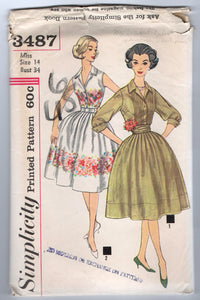 "1960's Simplicity One-Piece Dress with Cummerbund and Two Sleeve Lengths Pattern - Bust 34"" - No. 3487"