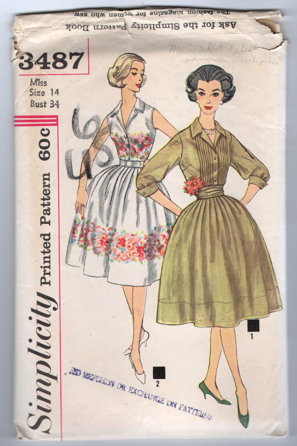 1960's Simplicity One-Piece Dress with Cummerbund and Two Sleeve Lengths Pattern - Bust 34