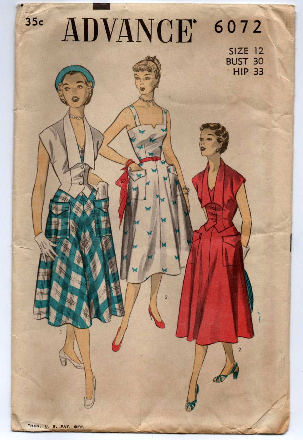 1950's Advance Sundress with Pockets and Jacket Pattern - Bust 30