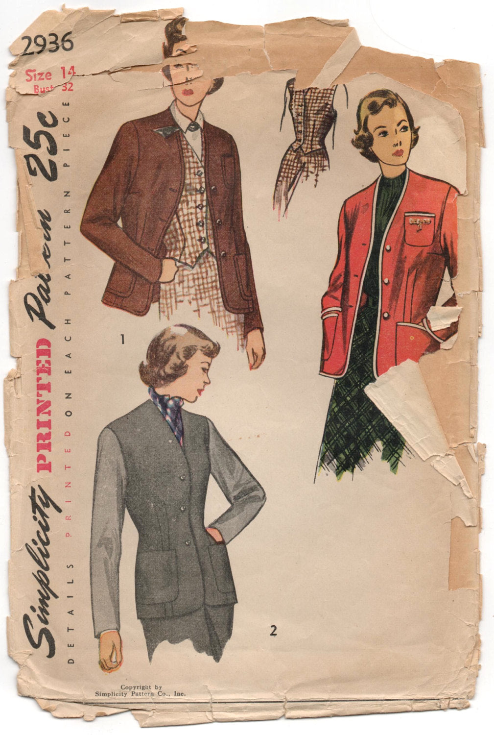 1940's Simplicity Jacket and Vest pattern - Bust 32