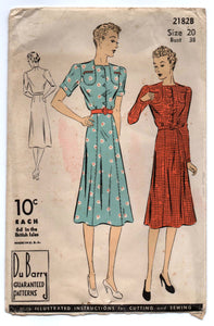 "1930's DuBarry One-piece Day Dress with Shoulder detail pockets pattern- Bust 38"" - No. 2182"