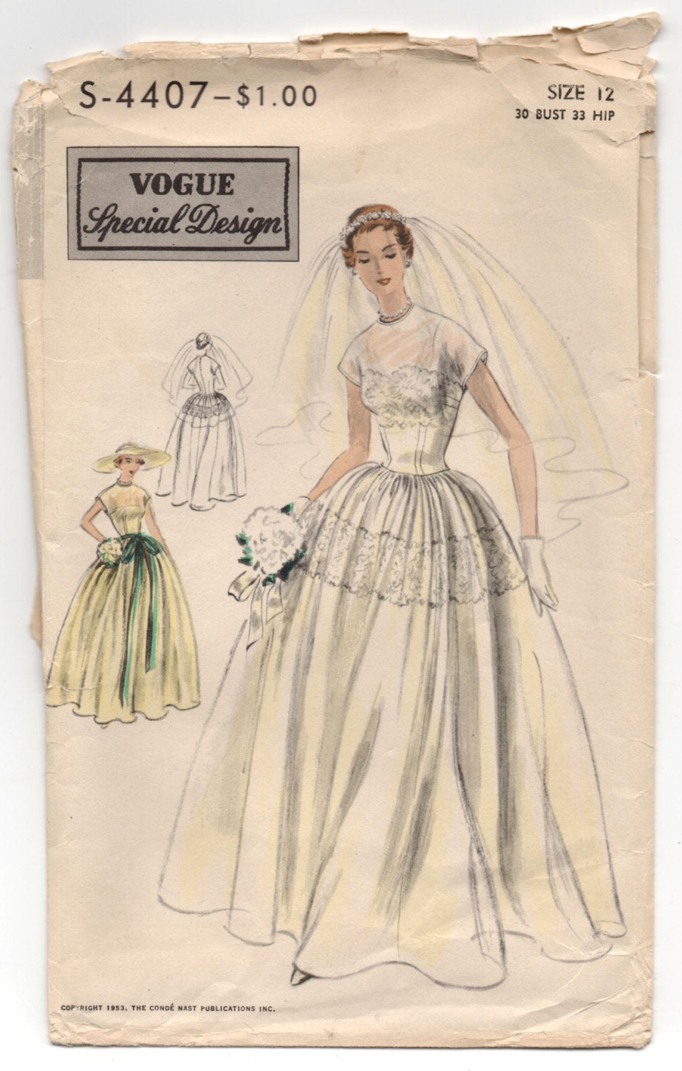 1950's Vogue Wedding or Evening Dress with Cap sleeves Pattern - Bust 30