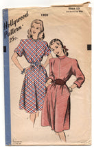 "1950's Hollywood One-Piece Dress with Two style of sleeves Pattern - Bust 30"" - No. 1909"