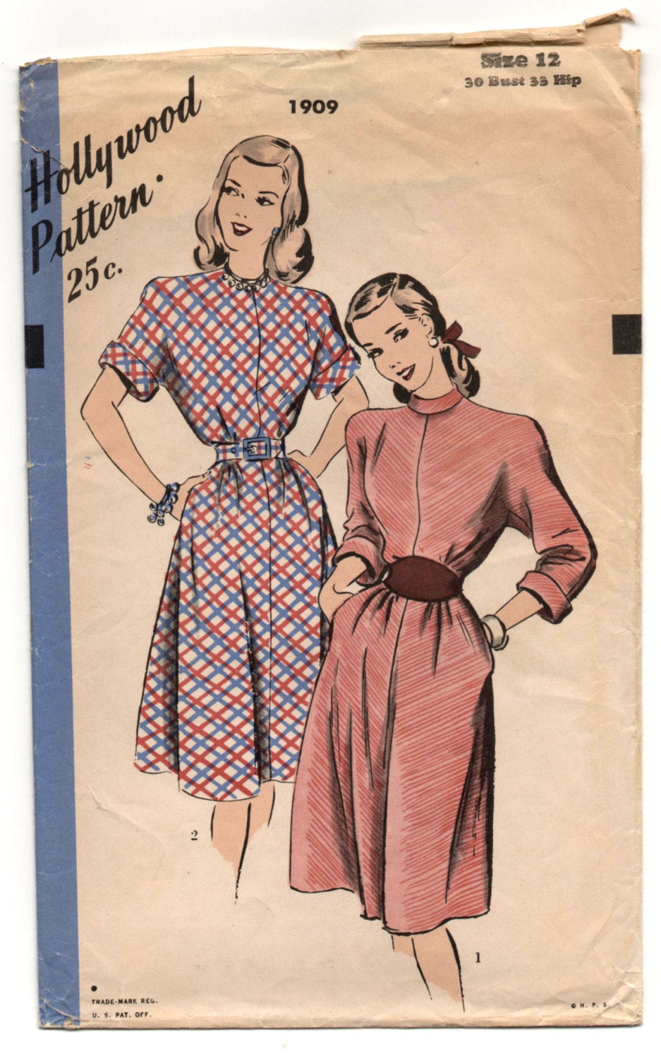 1950's Hollywood One-Piece Dress with Two style of sleeves Pattern - Bust 30