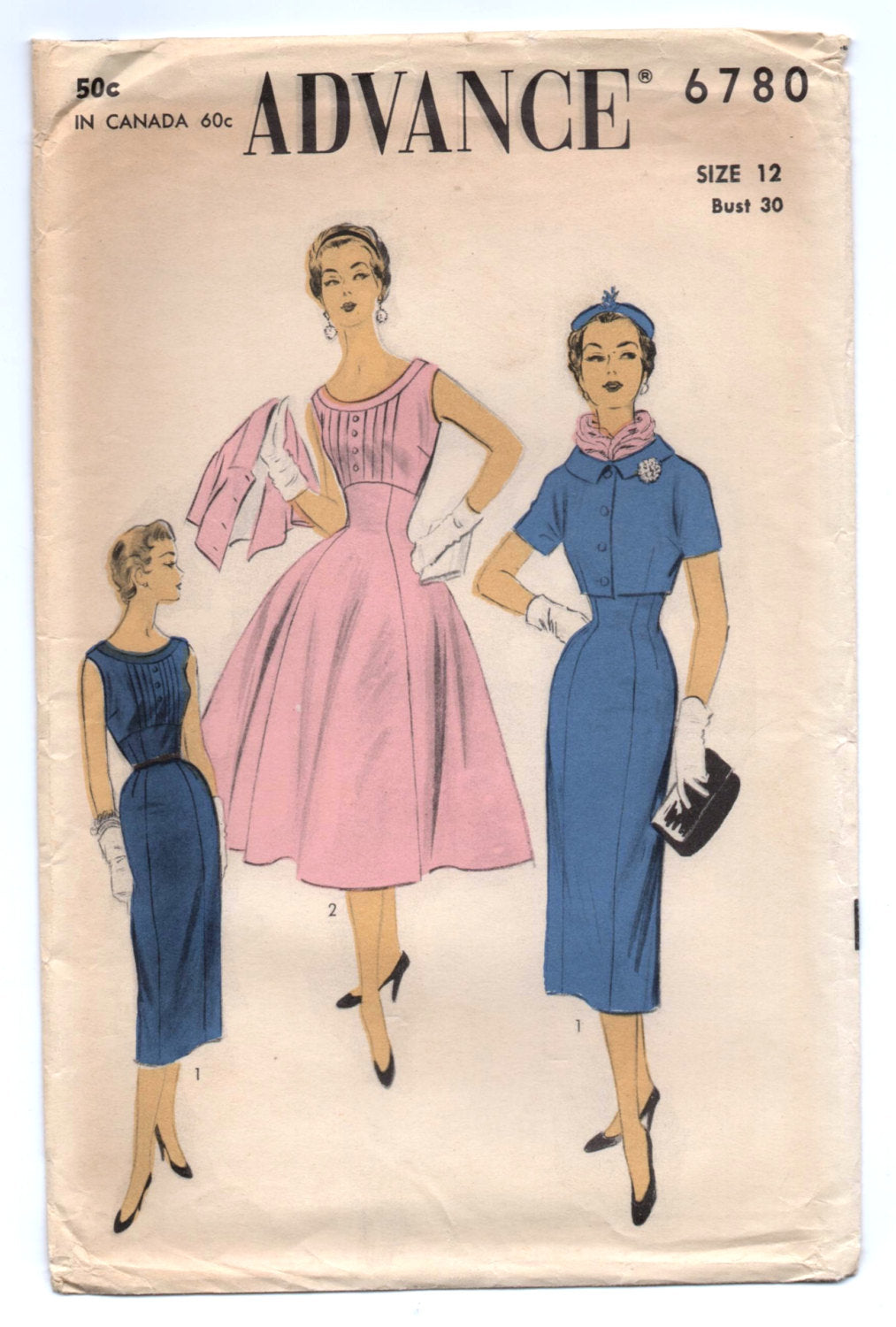 1950's Advance One-Piece Dress and Bolero Pattern - Bust 30