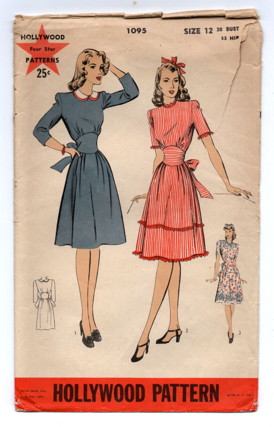1940's Hollywood One-Piece Tie Waist Dress Pattern - Bust 30