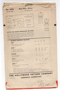 "1940's Hollywood One-Piece Tie Waist Dress Pattern - Bust 30"" - No. 1095"