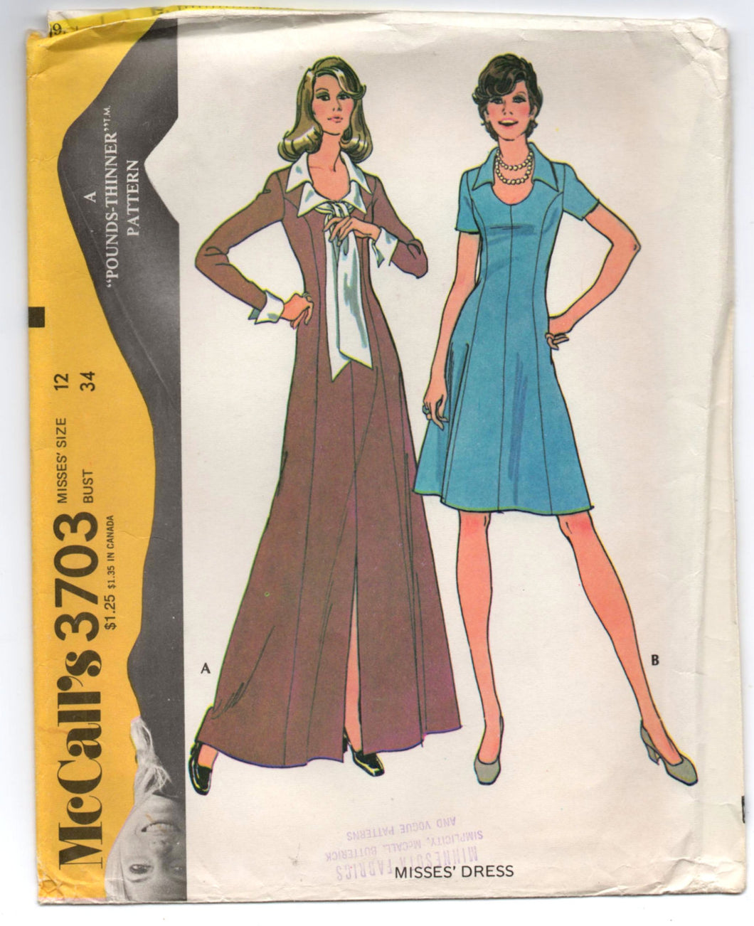 1970's McCall's Maxi and Short Dress - Bust 34