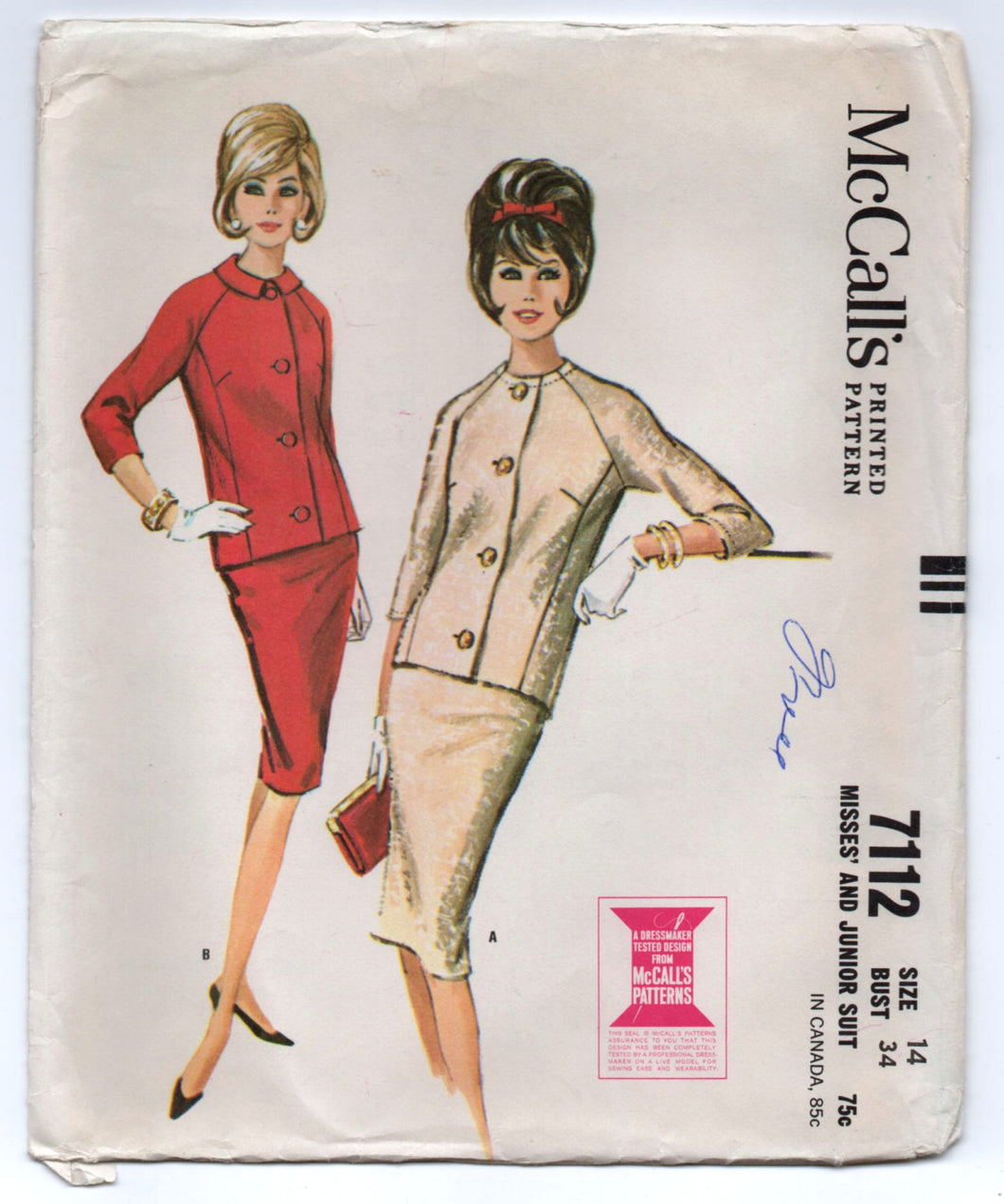 1960's McCall's Two-Piece Suit Pattern - Bust 34