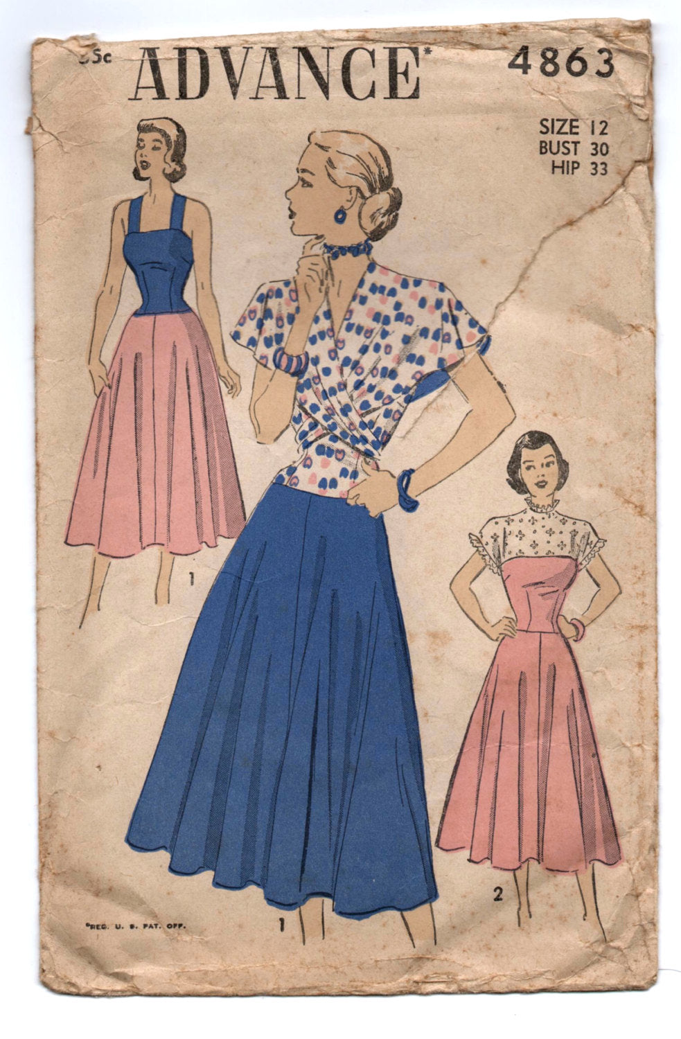 1950's Advance One-Piece Summer Dress with Wrap-around Cape Pattern - Bust 30