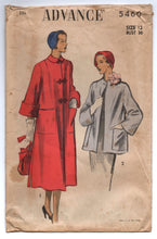 "1950's Advance Long Coat or Short Coat Pattern - Bust 30"" - No. 5460"