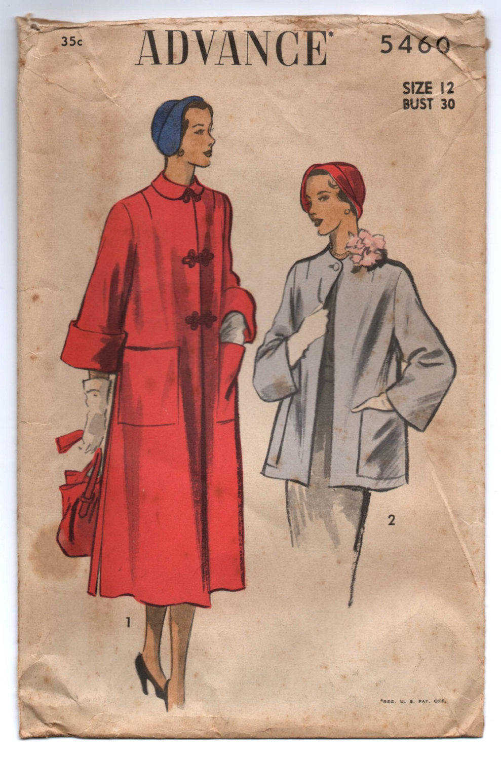 1950's Advance Long Coat or Short Coat Pattern - Bust 30