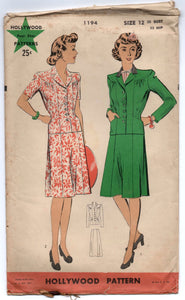 "1940's Hollywood Two-Piece Suit Pattern - Bust 30"" - No. 1194"