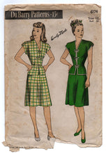 "1940's DuBarry Two-Piece Asian inspired Dress - Bust 30"" - No. 6172"