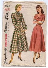 "1940's Simplicity One-Piece Dress with Scoop or High neckline - Bust 38"" - No. 2523"