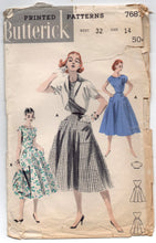 "1950's Butterick One-Piece Dress with Scalloped Neckline and Bolero pattern - Bust 32"" - No. 7687"