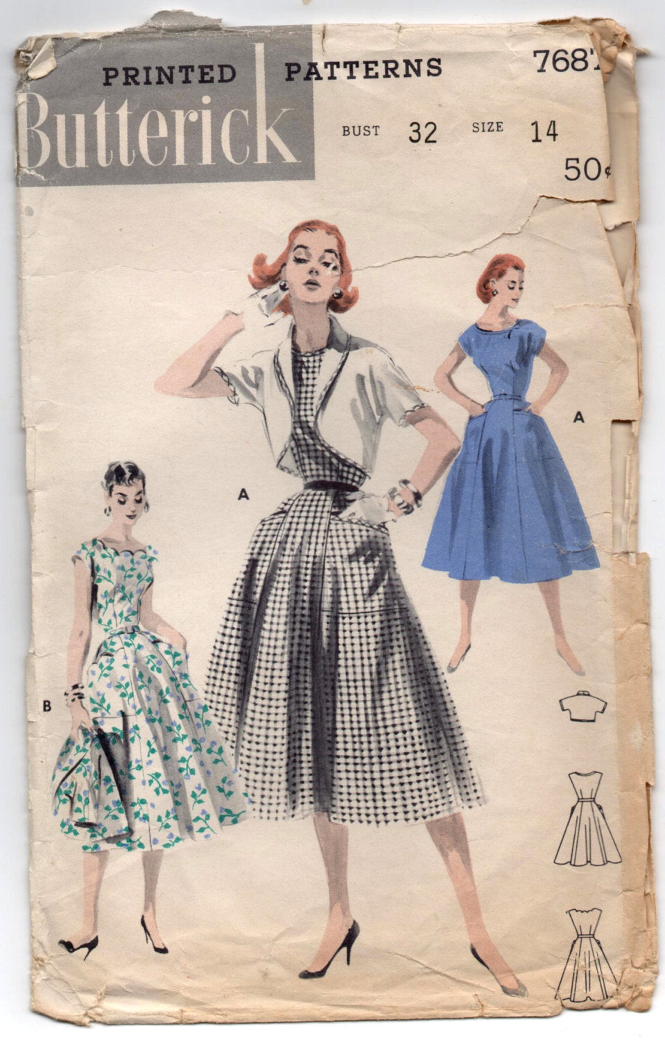 1950's Butterick One-Piece Dress with Scalloped Neckline and Bolero pattern - Bust 32
