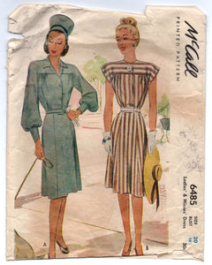 "1940's McCall One-Piece Dress with Two Sleeve Options Pattern - Bust 38"" - No. 6485"