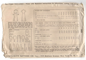 "1940's Simplicity One-Piece Dress with Scallop detail Pattern - Bust 42"" - No. 2668"