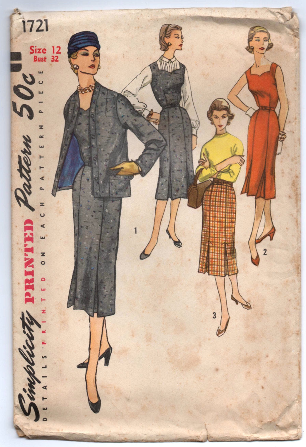 1950's Simplicity One-Piece Sweetheart Neckline Dress, Jacket, and Skirt Pattern - Bust 32