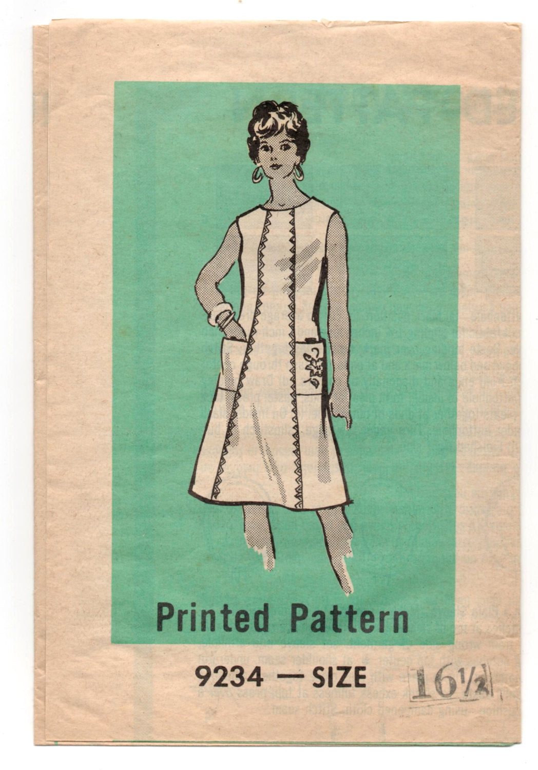 1970's Mail Order One-Piece Dress with pockets Pattern - Bust 39