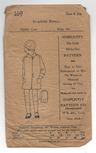 1920's Simplicity Child's Coat Pattern - 6 yrs - No. 169