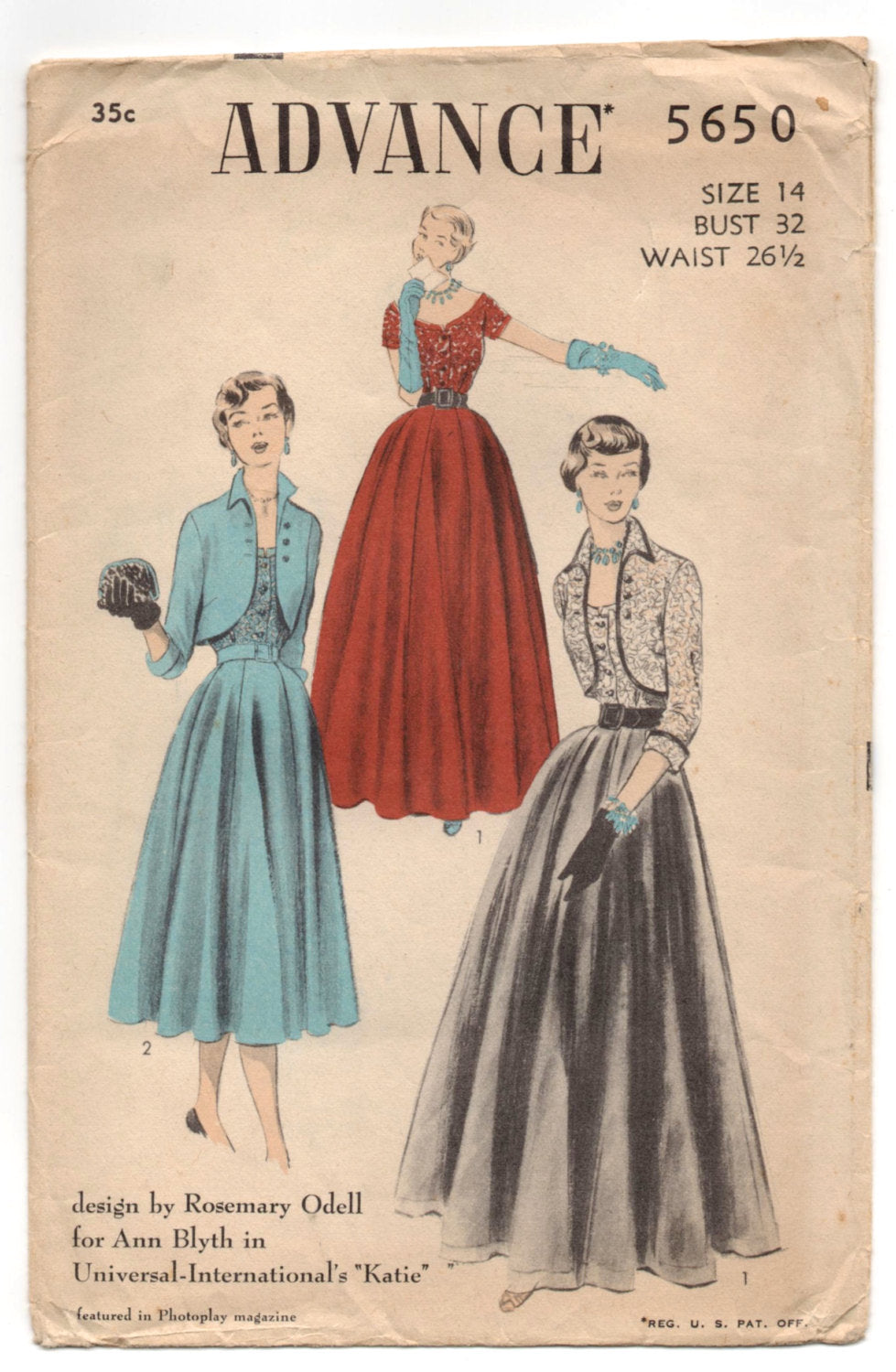 1950's Advance Evening Dress with Bolero Pattern - Bust 32