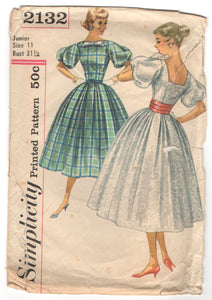 "1950's Simplicity Rockabilly Dress pattern with Bow Detail - Bust 31.5"" - No. 2132"