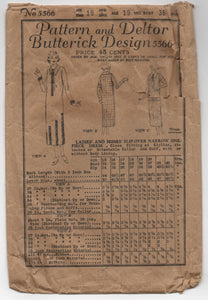 1920's Butterick Slip-Over Narrow One-Piece Dress - Bust 36 - No. 5566
