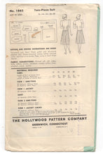 "1940's Hollywood Two-Piece Suit Pattern - Bust 32"" - No. 1862"