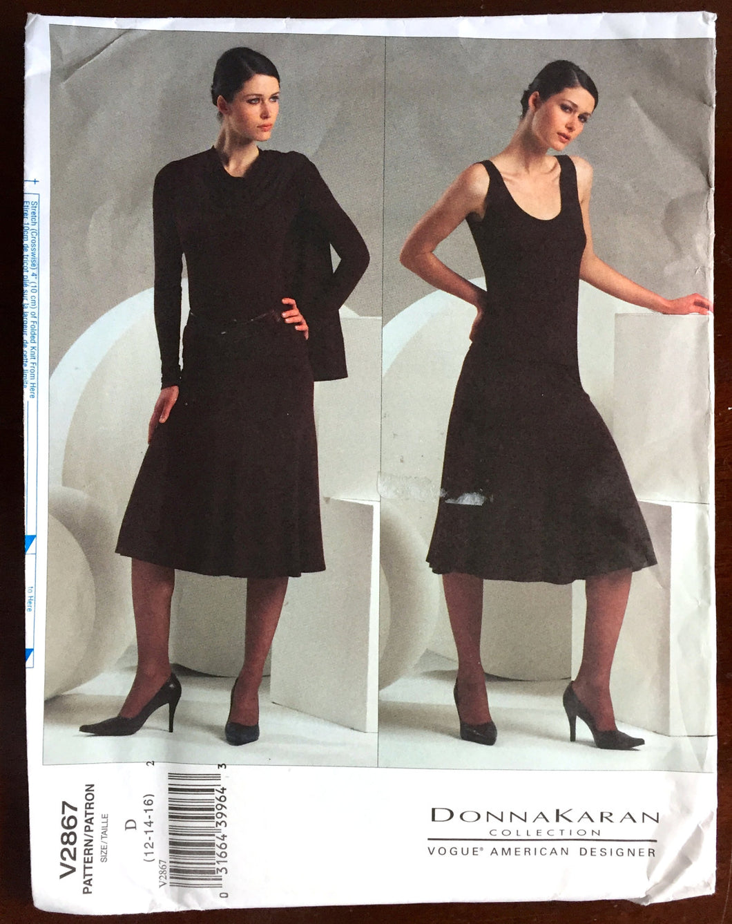 2005 Vogue American Designer Donna Karan Shrug, Top and Skirt Pattern - Bust 34