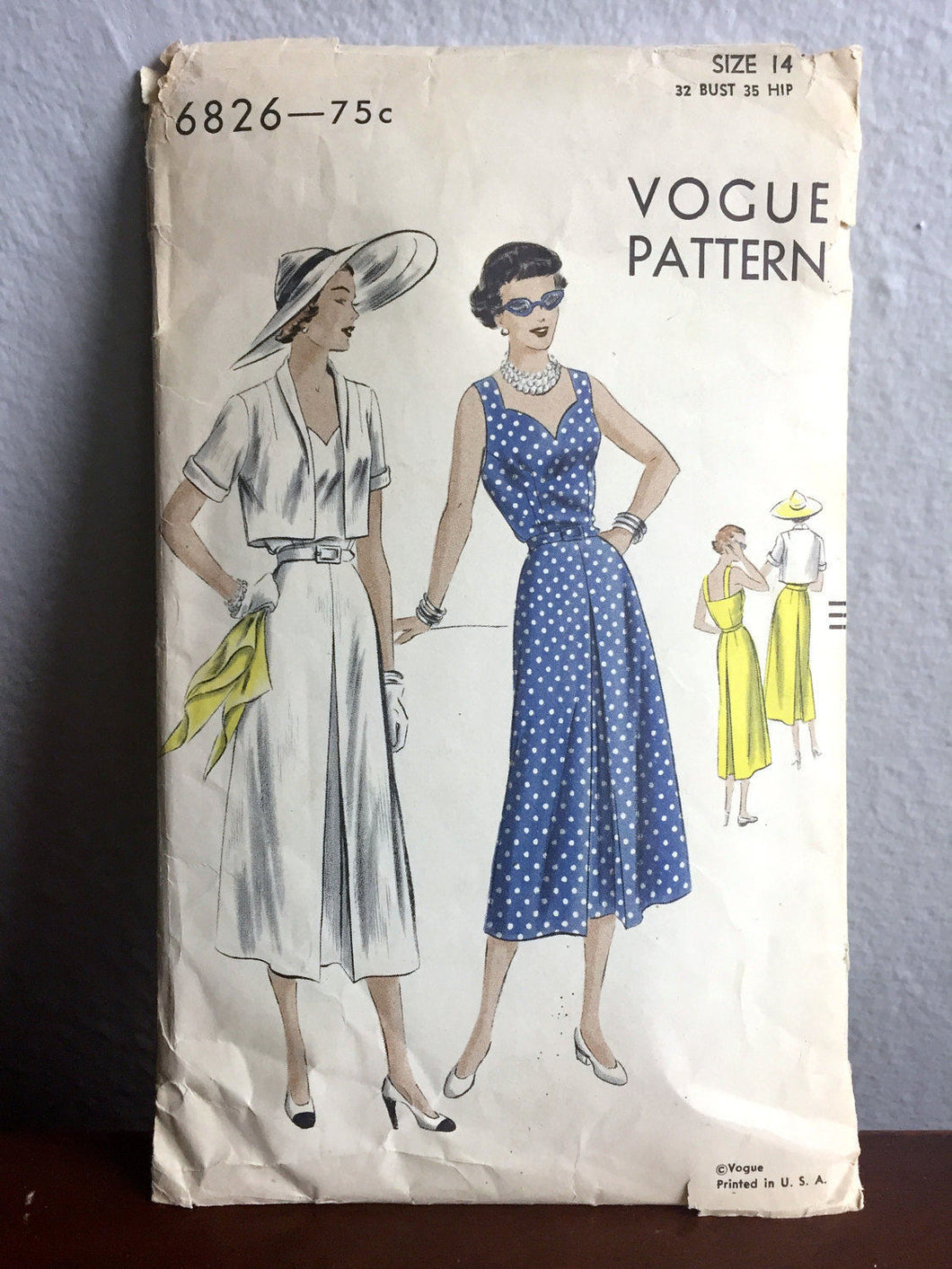 1940's Vogue Day Dress with Sweetheart Neckline and jacket pattern - Bust 32