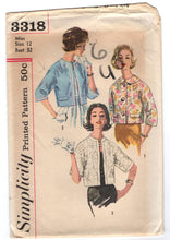 "1960's Simplicity Reversible Jacket pattern with three-quarter sleeves - Bust 32"" - No. 3318"