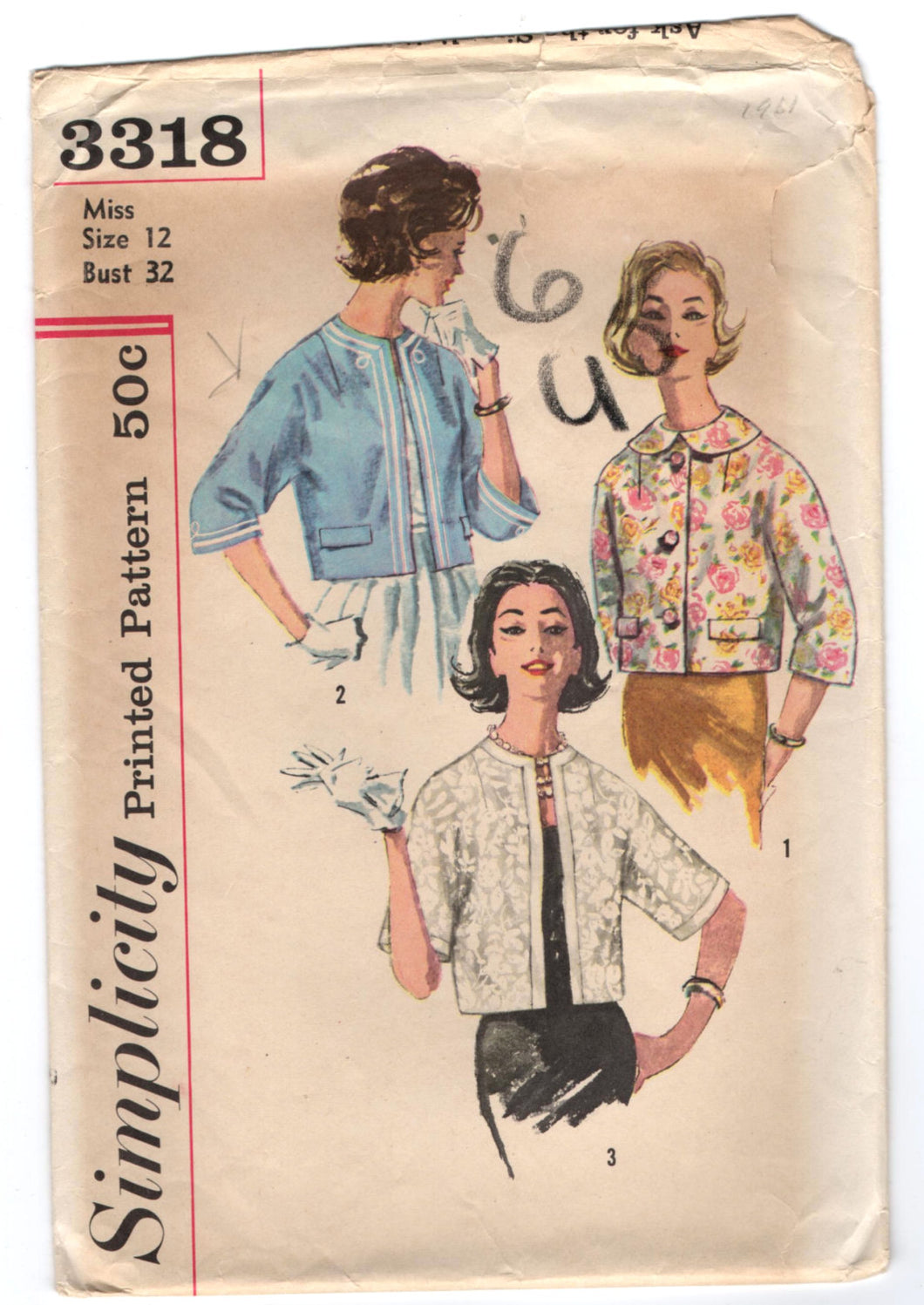 1960's Simplicity Reversible Jacket pattern with three-quarter sleeves - Bust 32