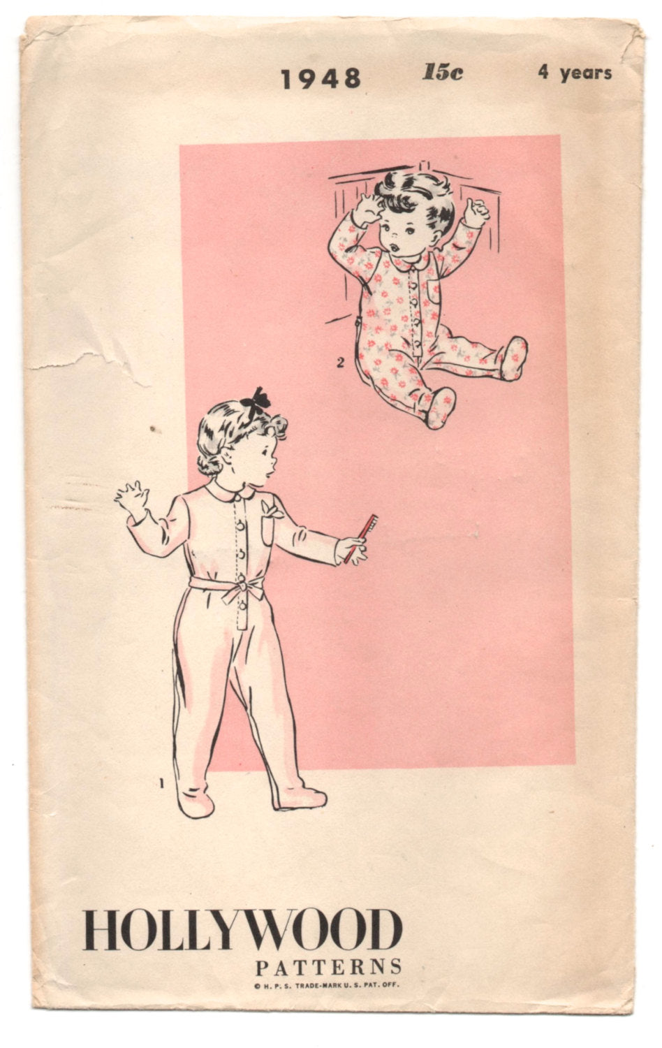 1940's Hollywood Child's Pajama pattern - 4 years - No. 1948