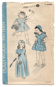 1940's Hollywood Dress with Heart pockets and Bonnet Pattern - Size 4 yrs - No. 1313