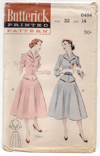 1950's Butterick Two-Piece Dress with Full Skirt - Bust 32