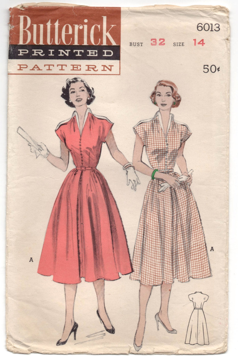 1950's Butterick One-Piece Dress with Cap Sleeves - UC/FF - Bust 32