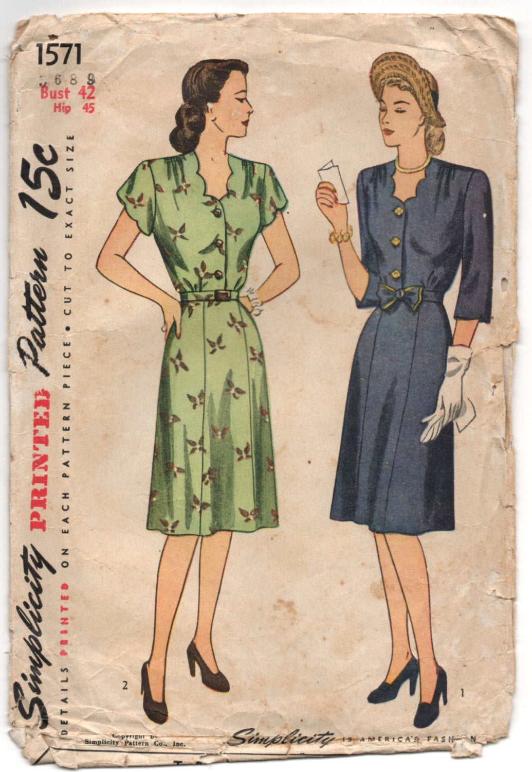 1940's Simplicity One-Piece Dress with Scallop neckline and Belted Waist - Bust 42