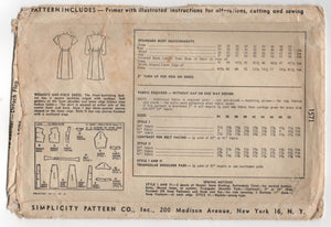"1940's Simplicity One-Piece Dress with Scallop neckline and Belted Waist - Bust 42"" - No. 1571"