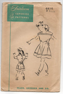 1940's Fairloom Superior Girls Tie-Back Dress - 8 years - No. 6616