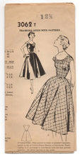 "1950's Mail Order One-Piece Scoop Neck and Full Skirt Dress Pattern - Bust 31"" - No. 3062"