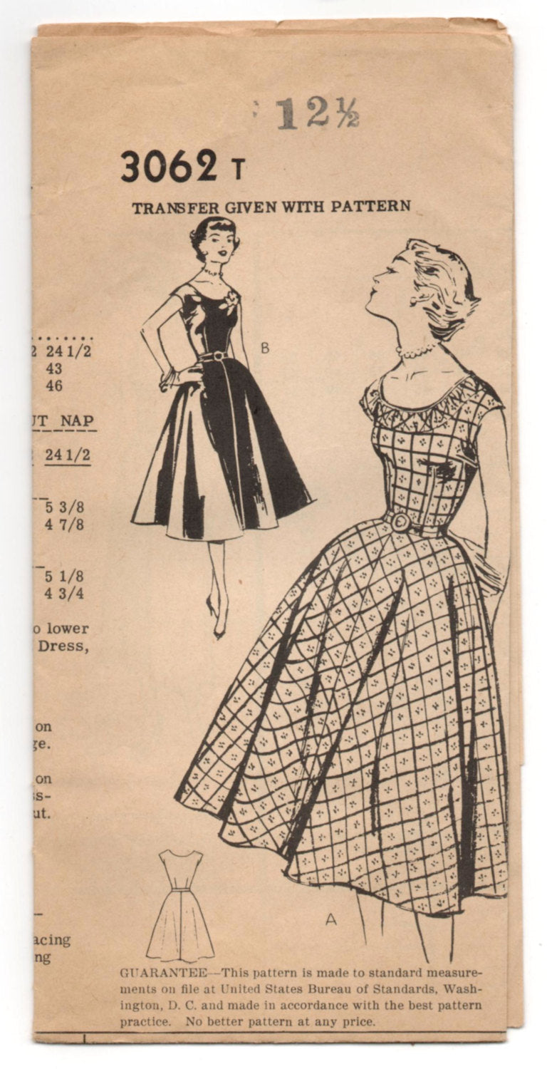1950's Mail Order One-Piece Scoop Neck and Full Skirt Dress Pattern - Bust 31