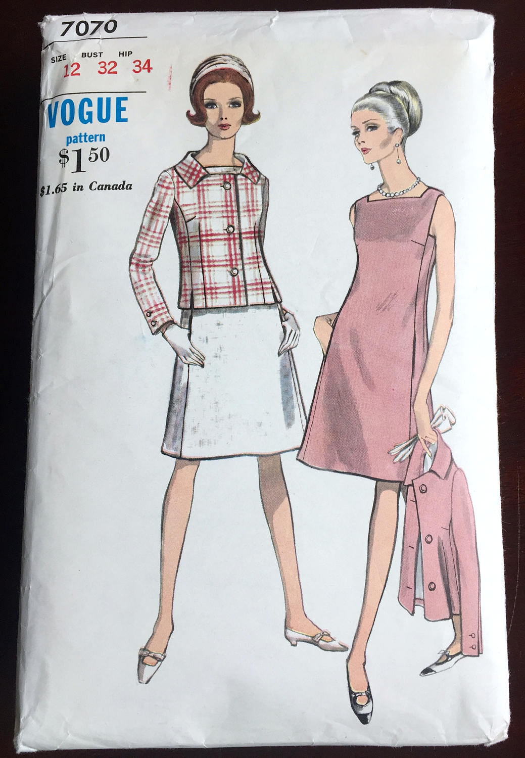 1960's Vogue One-Piece Dress with Jacket Pattern - Bust 32